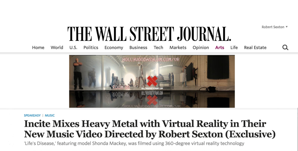 Wall Street Journal premieres VR music video directed by Robert Sexton